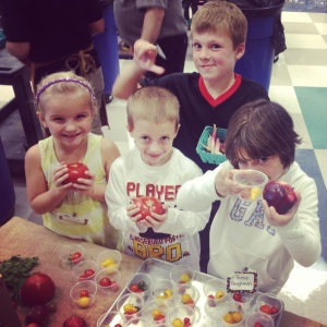 Kids at Cornerstone had mixed reactions to the tomatoes and basil, but many were willing to give them a try.