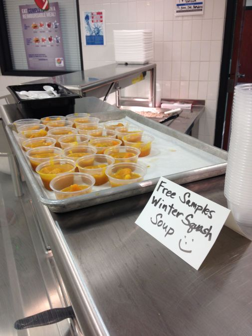 Local Winter Squash soup samples at DHS.